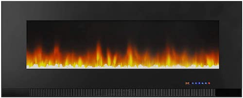 2. AmazonBasics Wall-Mounted Recessed Electric Fireplace - 50-Inch