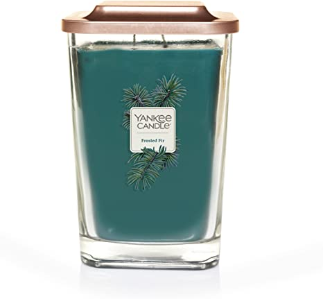 7. Yankee Candle Elevation Collection with Platform Lid Frosted Fir Scented Candle, Large 2-Wick, 80 Hour Burn Time