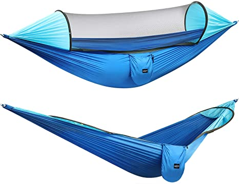 7. G4Free Large Camping Hammock with Mosquito Net 2 Person Pop-up Parachute Lightweight Hanging Hammocks Tree Straps Swing Hammock Bed