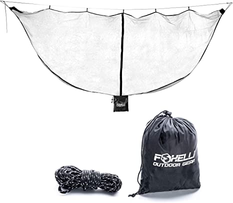 4. Foxelli XL Hammock Net – 12ft Net for Hammocks, Lightweight Portable Hammock Netting, Fast and Easy Set Up