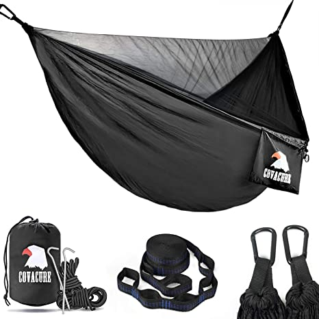 8. Covacure Camping Hammock with Net - Lightweight Double Hammock, Hold Up to 772lbs, Portable Hammocks