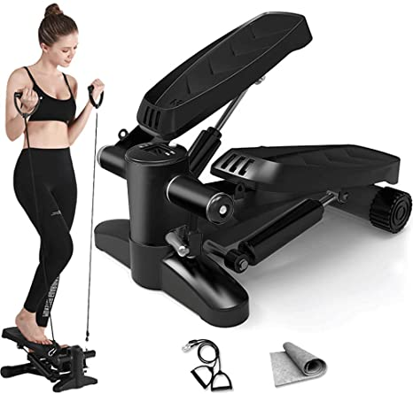 9. Papepipo Portable Stair Stepper for Exercise - Mini Fitness Equipment with Resistance Bands and LCD Monitor