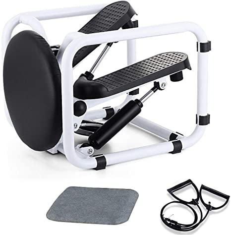 6. Poncho Stepper Desk Multi-Functional Mini Twist Stepping Machine with Resistance Bands, Indoor Fitness Hydraulic Stair Stepper
