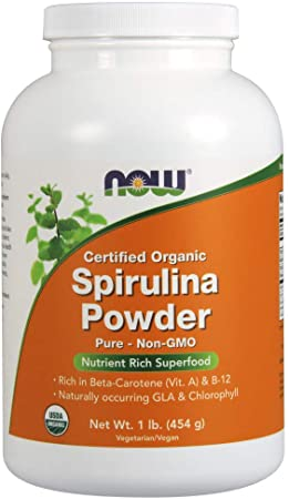 2. NOW Supplements, Certified Organic, Spirulina Powder, Rich in Beta-Carotene (Vitamin A) and B-12