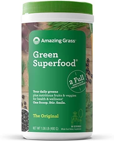3. Amazing Grass Green Superfood: Super Greens Powder with Spirulina, Chlorella, Digestive Enzymes & Probiotics, Original, 60 Servings