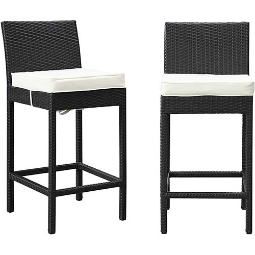 4. Modway Lift Wicker Rattan Outdoor Patio Two Bar Stools with Cushions in Espresso White