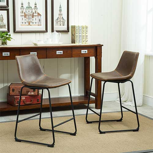 8. Roundhill Furniture Lotusville Vintage PU Leather Counter Height Stools, Antique Brown, Set of 2