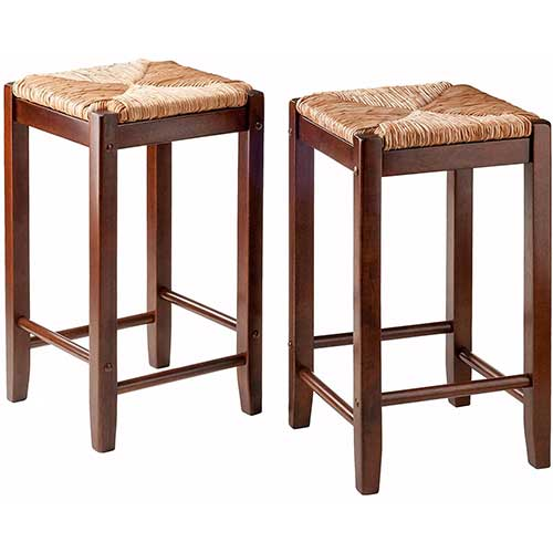 1. Winsome 2 Piece Bar Stools Rush Seat Kaden Set, Walnut