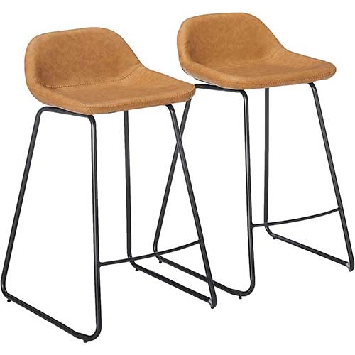 7. Cortesi Home Ava Counterstools in Saddle Brown faux Leather, 25