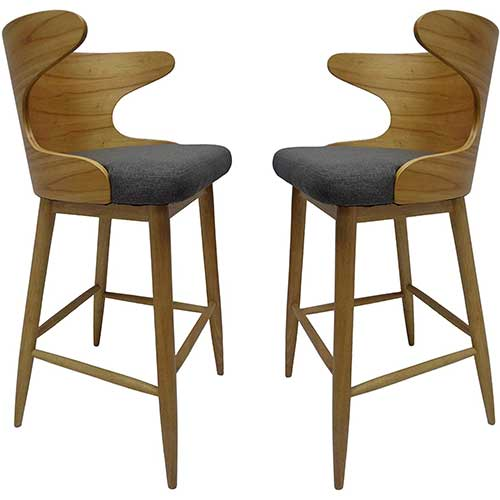 6. Christopher Knight Home Truda Mid Century Modern Fabric Barstools Set of 2 in Charcoal