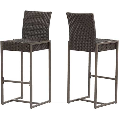2. Christopher Knight Home 305137 Kelly Outdoor Wicker 30 Inch Barstool (Set of 2), Dark Brown