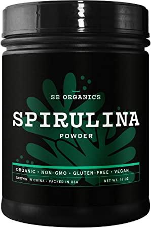 5. SB Organics Spirulina Powder - 1 lb Canister of Organic Non-GMO Non-Irradiated Gluten-Free Vegan Pure Spirulina Powder