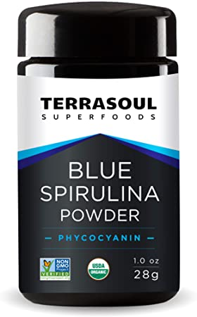 10. Terrasoul Superfoods Organic Blue Spirulina Powder (in Miron Glass Jar) - 1 Oz (28g)