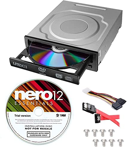 2. Lite-On 24X SATA Internal DVD+/-RW Drive Optical Drive IHAS124-14 + Nero 12 Essentials Burning Software + Sata Cable Kit
