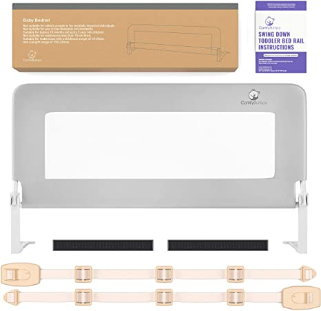 2. Toddler Bed Rail Guard for Kids Twin, Double, Full Size Queen & King Mattress - Bed Rails for Toddlers