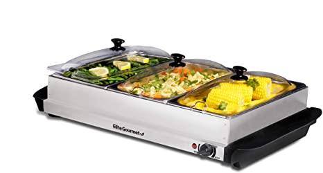 9. Elite Gourmet Elite Platinum EWM-6171 Maxi-Matic 7.5 Quart Triple Buffet Server Food Warmer Temperature Control, Clear Slotted Lids