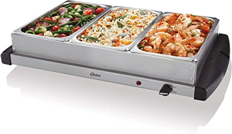 2. Oster Buffet Server Warming Tray | Triple Tray, 2.5 Quart, Stainless Steel