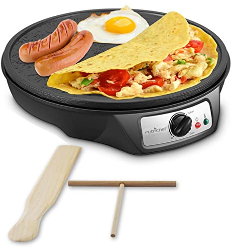 2. Nonstick 12-Inch Electric Crepe Maker - Aluminum Griddle Hot Plate Cooktop with Adjustable Temperature Control and LED Indicator Light
