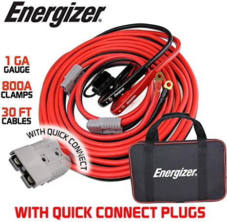 5. Energizer Jumper Cables, 30 feet, 1 Gauge, 800A, Booster Battery Cables with Permanent Installation kit and Quick Connect Plug