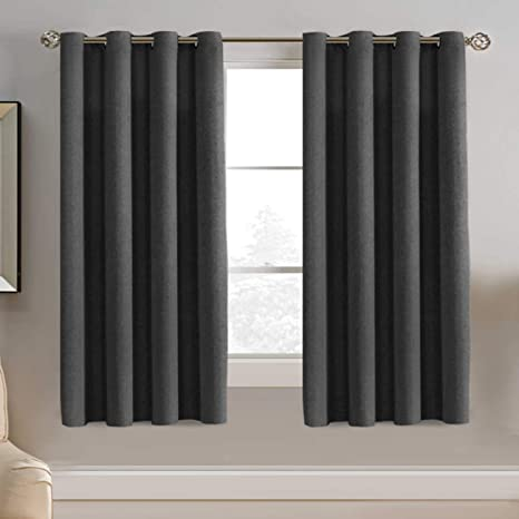 8. Linen Blackout Curtain 63 Inches Long for Bedroom / Living Room Thermal Insulated Grommet Linen Look Curtain Drapes
