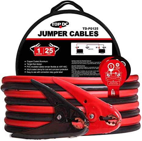 1. TOPDC Jumper Cables 1-Gauge 25-FT 700Amp Heavy Duty Booster Cables with Carry Bag or Box (1AWG x 25')