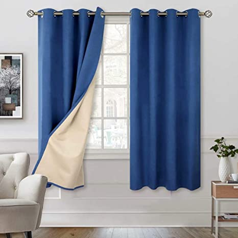 3. BGment 100% Blackout Curtains with Liner for Bedroom, Grommets Thermal Insulated Textured Linen Lined Curtains for Living Room