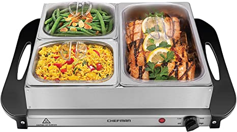 5. Chefman Electric Buffet Server + Warming Tray w/Adjustable Temperature & 3 Chafing Dishes, Hot Plate Perfect