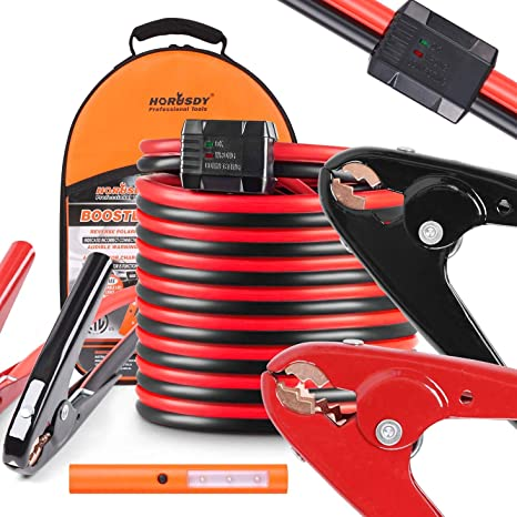 2. 25 FT Jumper Cables, 1-Gauge 800A Heavy Duty Jumper Battery Cables 25 Ft Booster Jump Start, Reverse Polarity Protection