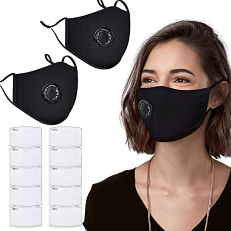 4. PM2.5 Dust Mask, 2 Pack Cotton Carbon Filter Face Mask, Reusable Breathing Valve Respirator Mouth Mask with 10 Activated Carbon