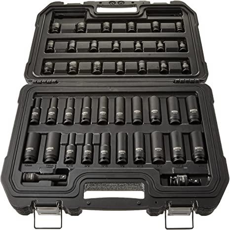 4. DEWALT Impact Socket Set, Combination, SAE/MM, 3/8-Inch Drive, 42-Piece (DWMT19248)