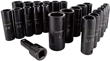 7. CRAFTSMAN Deep Impact Socket Set, SAE, 1/2-Inch, 23 Pieces (CMMT16970)
