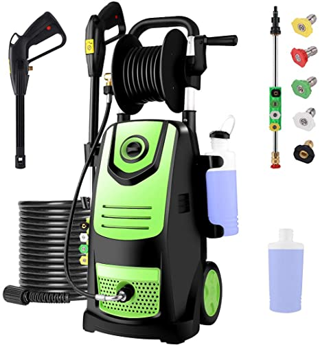 7. Suyncll 3800 PSI 2.8GPM Electric Pressure Washer Electric Power Washer with Soap Bottle and Hose Reel (Green)